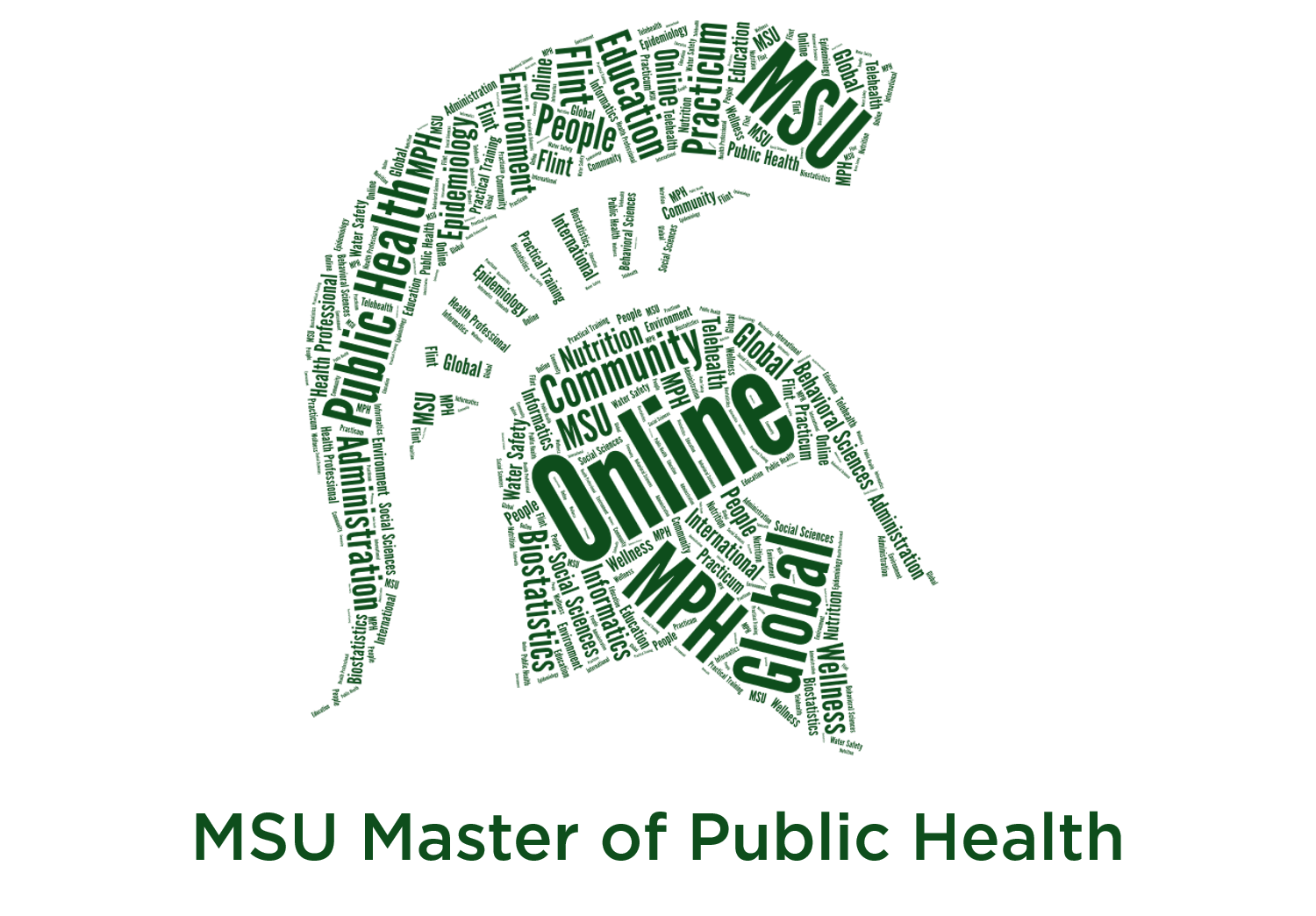 Spartan head logo made up of MPH related words