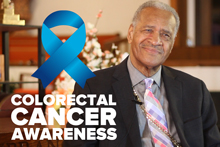 Bishop Jones with colorectal cancer awareness ribbon